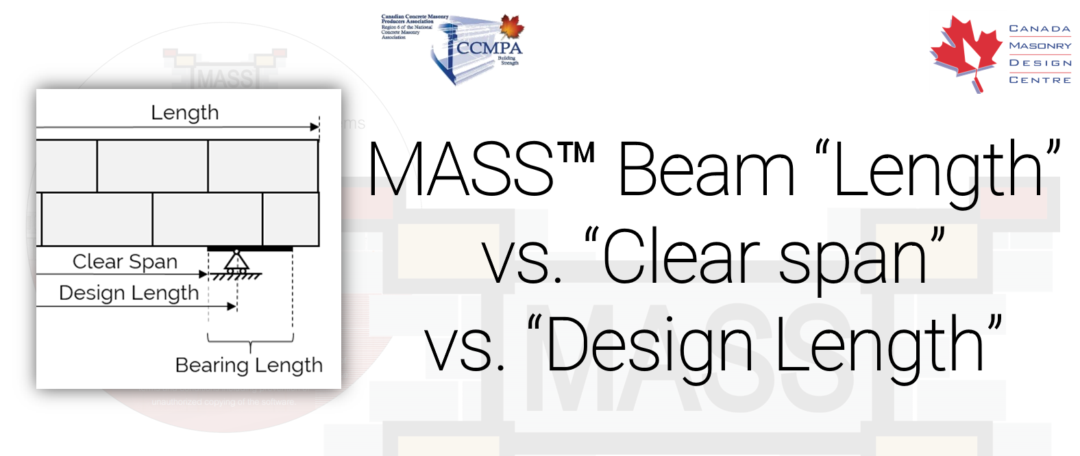 Canada Masonry Design Centre What Is The Difference Between The Length Clear Span Bearing Length And Design Length Of A Masonry Beam In Mass